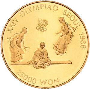 South Korea - Gold 25000 Won Coin - 16.8 g (.925) - 'Seesaw' - 1988 - Proof