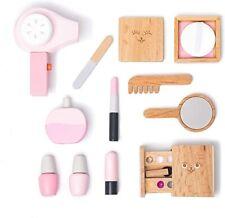 12 Piece Wooden Beauty Salon Toys Girls Makeup Playset Brush, Mirror, Cosmetics