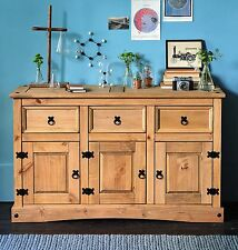 Solid Wood Sideboard Rustic Large Chest 3 Drawers Unit Dresser Cabinet Furniture
