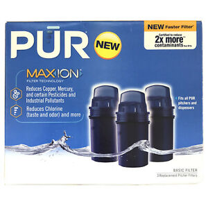 3 Pack PUR Max Ion Water Filter Fits All PUR Pitchers & Dispensers New Faster