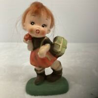 Vintage Napcoware School Girl Red Fiber Hair Little Rascal Figurine Japan C-6860