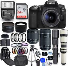 Canon Eos 90D with 18-55mm, 55-250mm, 500mm, 650-1300mm 6 Lens Top Value Bundle