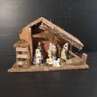 Crèche bois fait main santon déco Noël vintage christianisme fête religion N4584