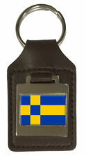 Leather Keyring  Engraved Tilburg City Netherlands Flag