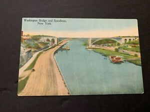 c.1910 Washington Bridge and Speedway New York Postcard