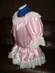 LADIES~SISSY~MAIDS~ADULT BABY~UNISEX PINK SATIN & LACE SHORT DRESS WITH APRON