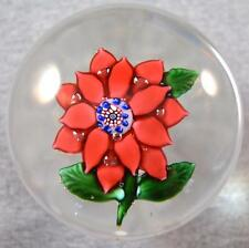 RARE VINTAGE BOSTON & SANDWICH 14-PETAL RED POINSETTIA PAPERWEIGHT w/ MILLEFIORI