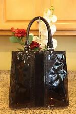 nwCole Haan genuine  black patent leather - suede satchel bag large purse (pu130