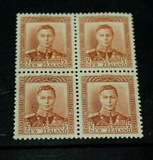 NEW ZEALAND  1938-44 1/2D BROWN KG ISSUE IN BLOCK OF 4 FINE M/N/H