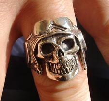 925 sterling SILVER skull aviator pilot ring Biker jewellery skeleton jewelry