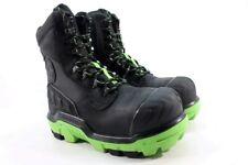 "Dunlop 8"" CTCP Leather Men's Black/Green Work Boots UK 8.5/ EU 42.5/ 2723"
