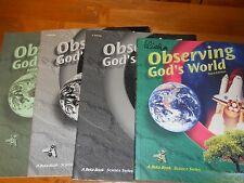 ABEKA OBSERVING GOD'S WORLD SCIENCE, GRADE 6, 3RD EDITION,4 Pc ALMOST  COMPLETE