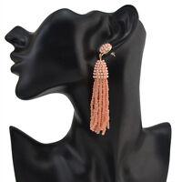 Long Seed Beads Tassel Dangle/Drop Stud Earrings Women Girl Gift Jewelry