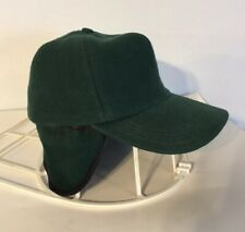 Vintage Green Wool Mens Fold Down Ear Flaps Hunting Winter Hat Cap Medium USA