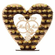 Wooden Mr & Mrs Heart Chocolate Dessert Display Stand Holder Wedding Party Decor