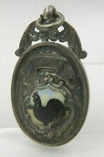 Antique Sterling Silver Fob with Enamelled Chicken, Hallmarked Chester 1923