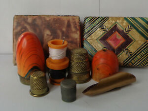 Vintage Enamel German Sewing Etui Complete Including Box with Brass Thimble, etc