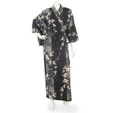 Cherry Blossom Print Long Black Yukata