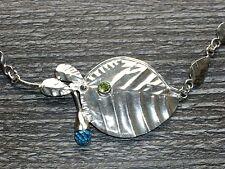 Blätter Kette massiv mit Blautopas und Peridot aus Silber 925