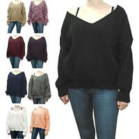 Womens Ladies Chunky Knitted V Neck Back Baggy Oversized Jumper Sweater Pullover