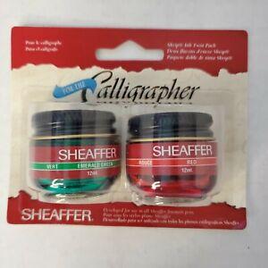 VTG Sheaffer Skrip Calligrapher Ink 2-pack EMERALD GREEN & RED 12ml ea