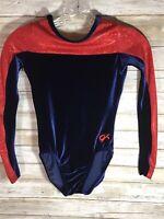 GK Elite Gymnastics Leotard Adult X-Small AXS Blue Velour Red Shimmering EUC