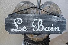Sign Plaque French Country Le Bain The Bath Hand Painted BLK Wall Decor VCarved