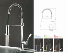 3 Color LED Kitchen Sink Pull Down Spout Mixer Tap Swivel 1 Handle Faucet Chrome