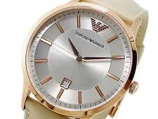 NEW EMPORIO ARMANI CLASSIC  ROSE GOLD TONE AND NUDE LEATHER WATCH AR2464