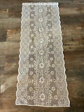 Traditional French White & Beige Floral Net Panel Curtain 56x143cm