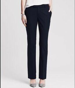 BANANA REPUBLIC Womens 6 Petite Martin Fit Black Stretch Straight Pants Trouser