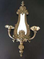 VINTAGE Antique VICTORIAN Brass CHERUB Angel FLEUR Figural WALL Mirror SCONCE