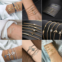 4 Pcs/Set Women Bracelet Silver Gold Elegant Charming Jewelry Bracelet Gift