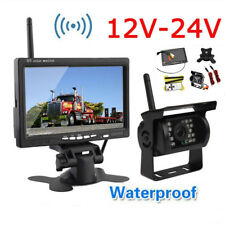 "Wireless Truck Trailer Bus Reverse Backup Rear View System IR Camera+7"" Monitor"