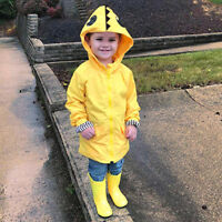 UK Boys Girls Kids Raincoat Hooded Yellow Cartoon Dinosaur Clothes Rain Coat AB