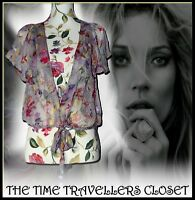 NEW KATE MOSS TOPSHOP GREY PINK FLORAL TIE BLOUSE SHEER TOP FLUTTER SLEEVES UK 6