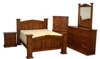 Rustic Estate Mansion Bedroom Set - King Size Bed - Real Wood Furniture Free S/H