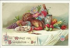 Good Wishes For Thanksgiving Day Food Vintage Postcard