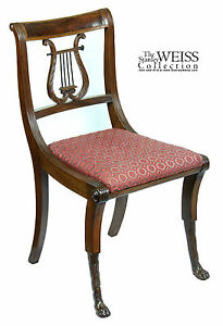 SWC-Mahogany Classical Lyre Side Chair, Duncan Phyfe, New York, c.1815
