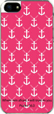 iPhone 5 Pink Anchor with Psalm 56:3 at Bottom Design Sticker on Hard Case