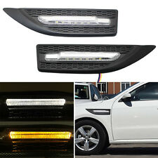2x Matte Black Switchback White/Amber Dual-Color LED Side Marker Courtesy Lights