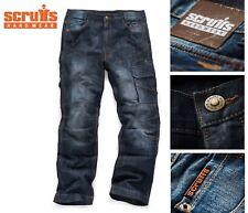 Scruffs Trade Denim Work Trousers Industrial Blue Jeans Loose Fit Knee Pad PKT