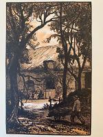 Pierre Gusman gravure sur bois woodcut Paysage Chaumière Ferme