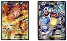 Pokemon Cards Ultra Rare Charizard EX XY 121 + Blastoise EX XY 122 + Hard Sleeve