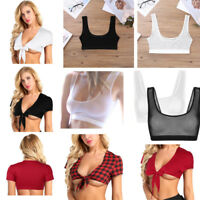 Women Sexy Mesh Plaid Crop Top Shirt Sleeveless Transparent Short Blouse Tops