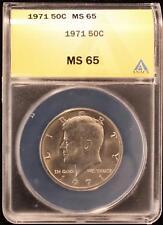 1971 KENNEDY HALF DOLLAR GEM UNC ANACS MS65 US COIN W095