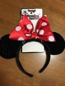 Disney Minnie Mouse Ears Headband Black w/Red Bow White Pocka Dot Adult Kids