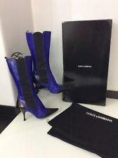 Dolce & Gabbana D&G Python Pantorrilla Botas Tacones Azul Negro Talla 38 Reino Unido 5 Caja Bolsa para el polvo