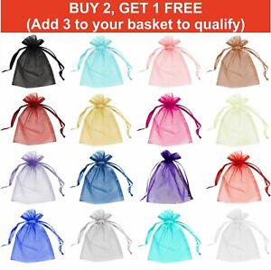 25 / 50 Organza Gift Pouch Bag Small Large For Wedding Favour, Party, Gifts Etc