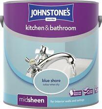 Johnstone's 303953 2.5 Litre Kitchen and Bathroom Emulsion Paint - Blue Shore